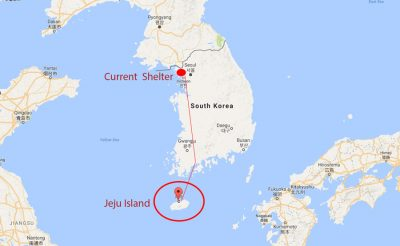 The route from Jeju Island to our shelter